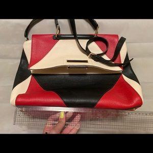 Furla artesia large red white black satchel
